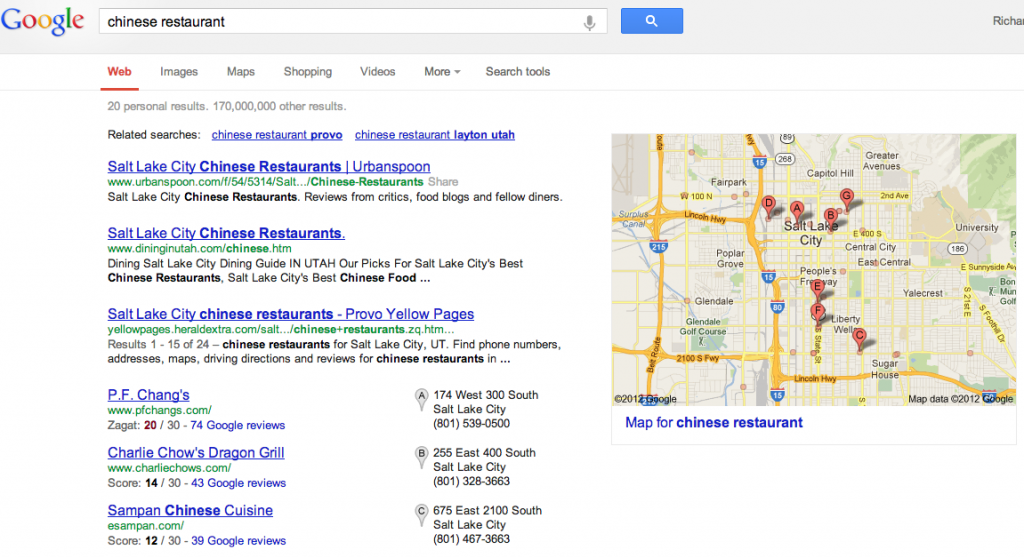 Google Local Result Chinese Restaurant